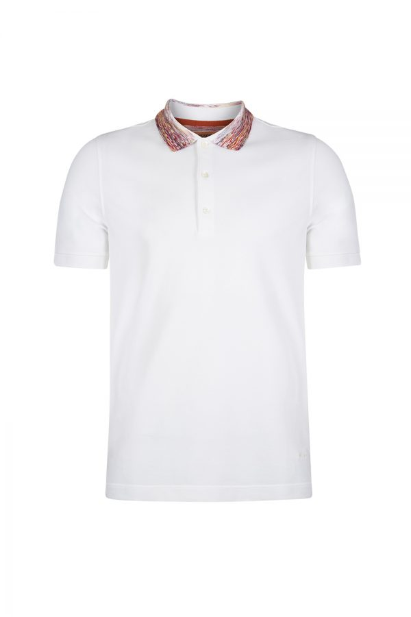 Missoni Men's Contrast Collar Polo Shirt White