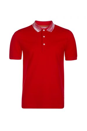 Missoni Men's Striped Collar Polo Shirt Red