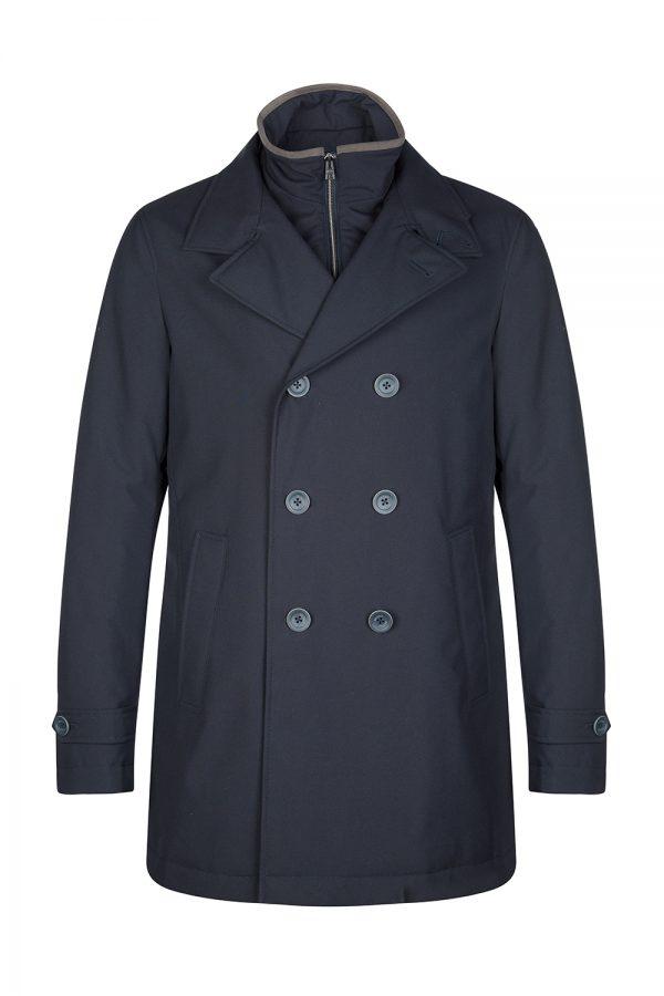 Herno Men's Double Breasted Rain Coat Navy Blue