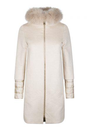 Herno Women's Cashmere Fur Coat Beige