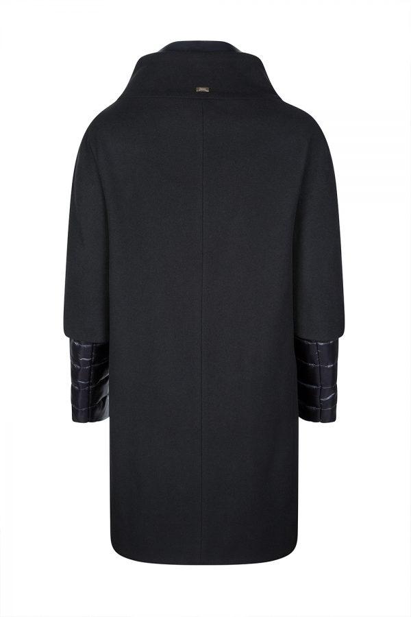 Herno Ladies Padded Contrast Wool and Nylon Coat Black