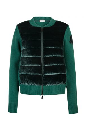 Moncler Women's Quilted Velvet Down Cardigan Green