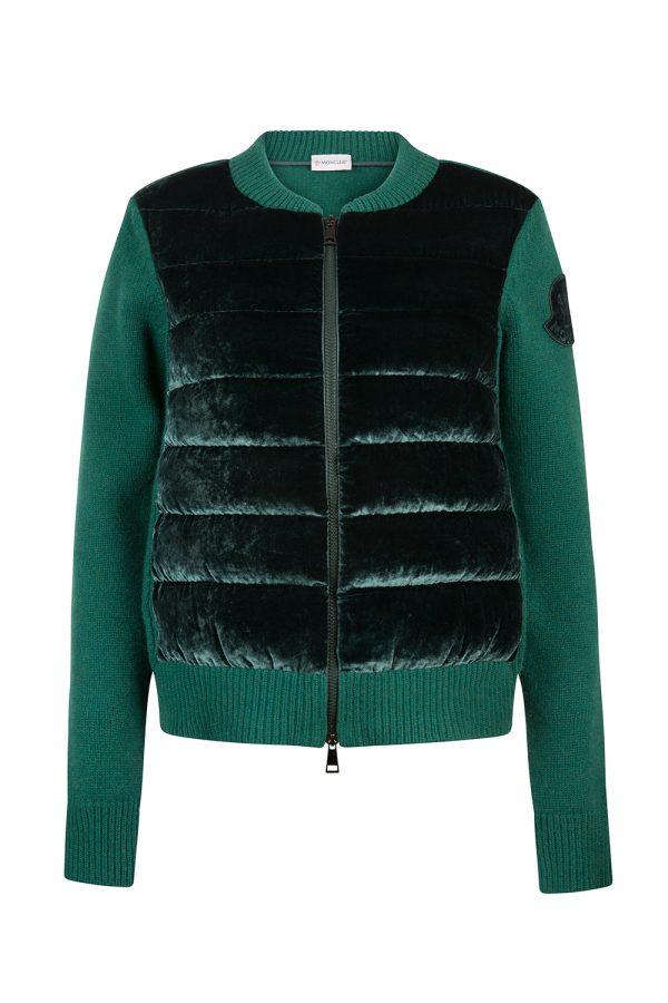 Moncler Women's Quilted Velvet Down Cardigan Green
