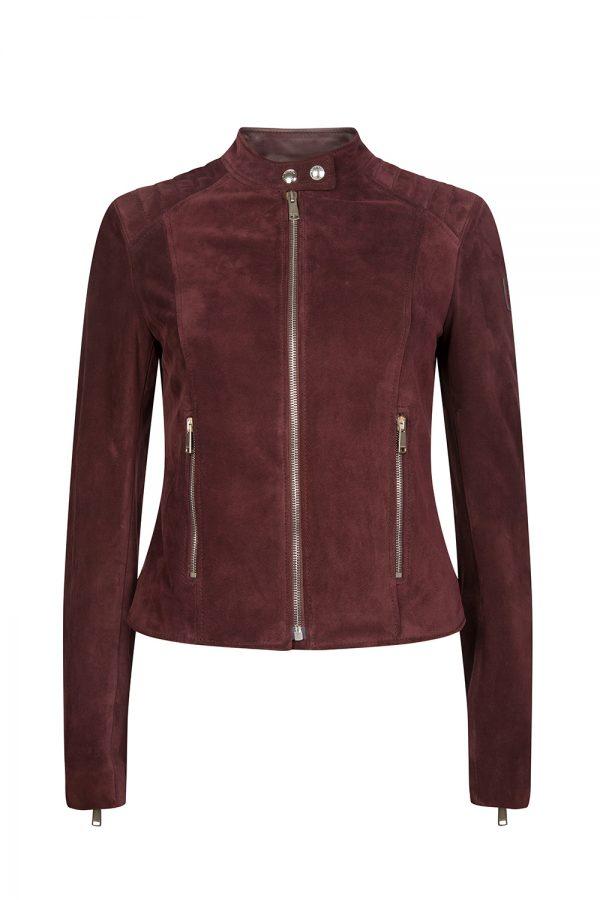 Belstaff Mollison Women's Suede Biker Jacket Burgundy
