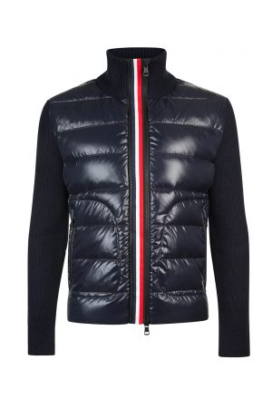 Moncler Men's Wool And Down Cardigan Navy