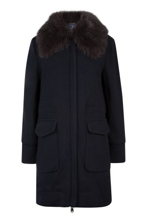Woolrich Women's Wool Cotton Track Coat Navy