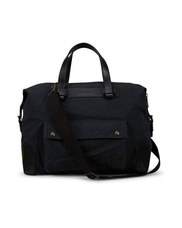Belstaff Men's Colonial Cotton Canvas Shoulder Bag Black FRONT
