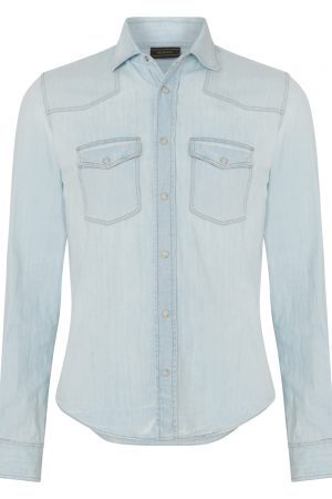 Belstaff Men's Someford Bleached Denim Shirt Blue FRONT