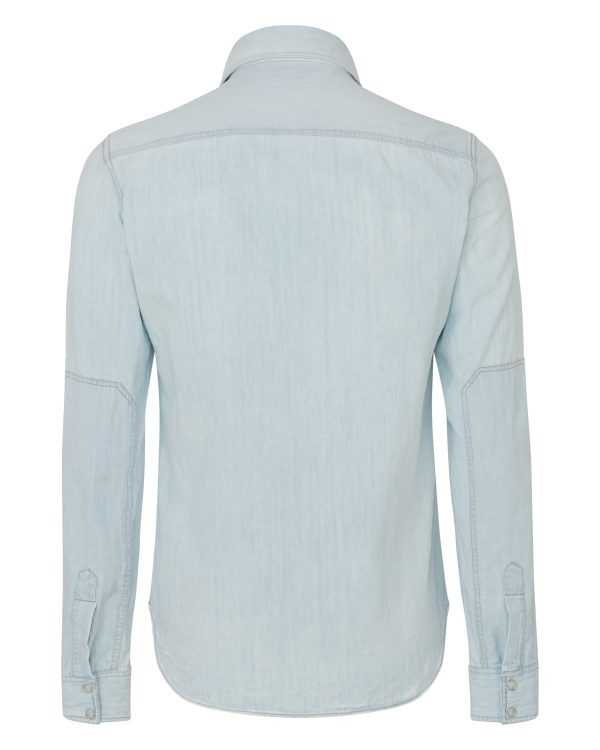 Belstaff Men's Someford Bleached Denim Shirt Blue BACK