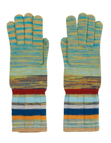 Missoni Ladies Melange Striped Gloves Green