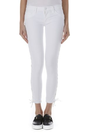Hudson Raven Ladies Lace-Up Crop Super Skinny Jeans White