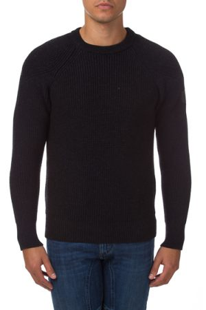 Belstaff Dunnington Men's Ribbed Wool Sweater Grey