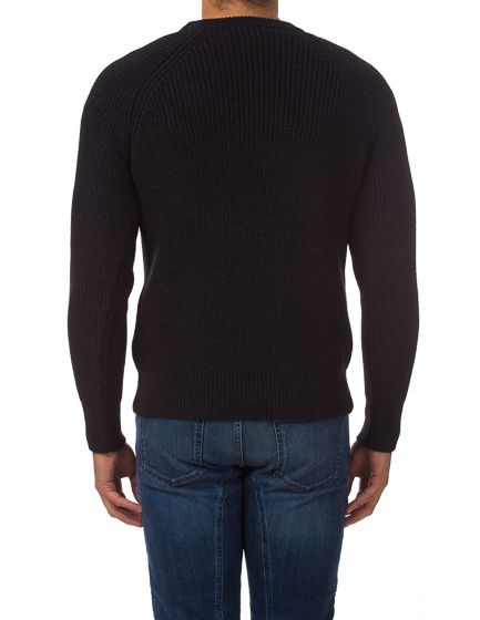 Belstaff Dunnington Men's Ribbed Wool Sweater Grey