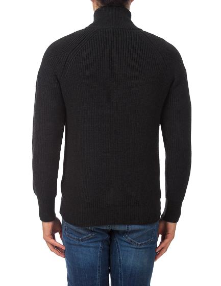 Belstaff Harleston Men's Ribbed Wool Cardigan Grey