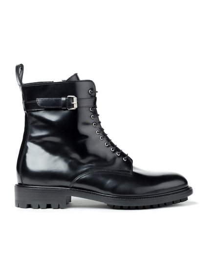 Belstaff Finley Ladies Leather Combat Boots Black