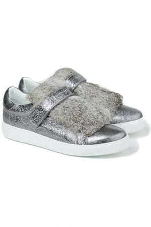 Moncler Lucie Ladies Fur Trim Sneakers Silver