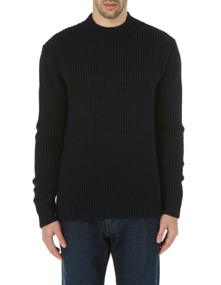 Ten C Men's Merino Wool Waffle Knit Sweater Navy