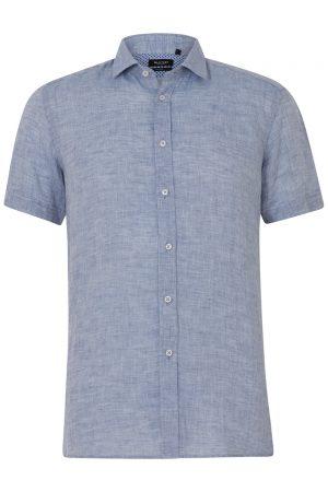 Sand Men's Marled Linen Short-Sleeve Shirt Blue FRONT