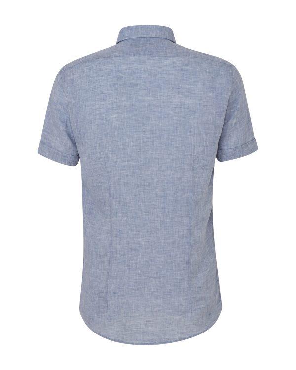 Sand Men's Marled Linen Short-Sleeve Shirt Blue BACK