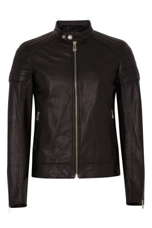 Belstaff Northcott Men's Tumbled Leather Jacket Black FRONT
