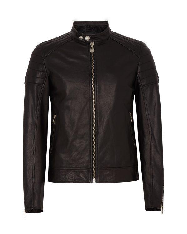 Belstaff Northcott Men's Tumbled Leather Jacket Black FRONT