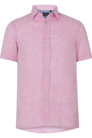 Sand Men's Marled Linen Short-Sleeve Shirt Pink FRONT