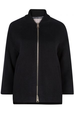 Herno Women's Ribbed Collar Coat Black