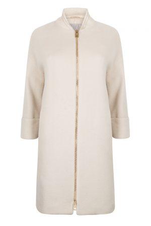 Herno Women's Ribbed Collar Long Coat Beige