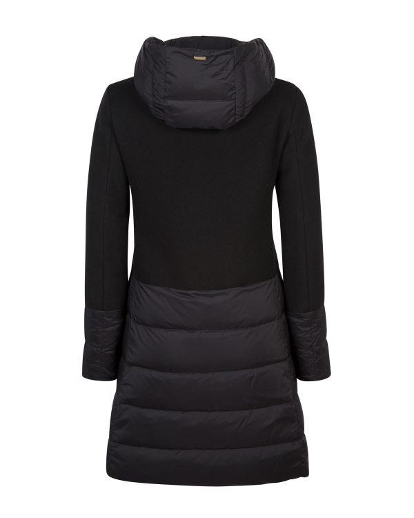 Herno Ladies Quilted Panel Hooded Coat Black