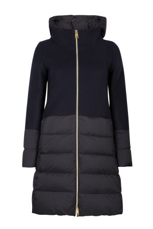 Herno Ladies Quilted Panel Hooded Coat Navy