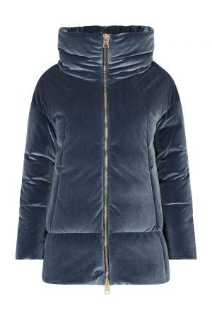 Herno Ladies Velvet Down Coat Blue