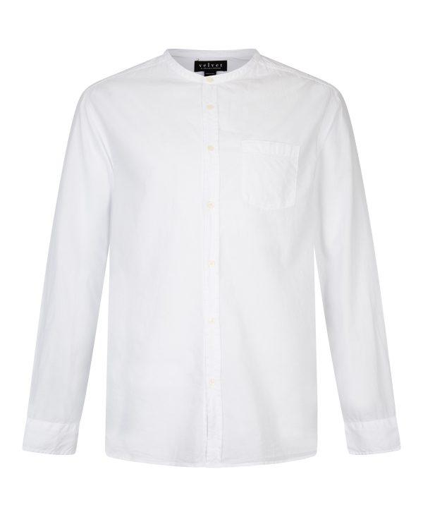 Velvet Men's Collarless Cotten Shirt White