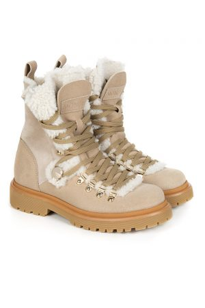 Moncler Women's Berenice Shearling Boots Beige