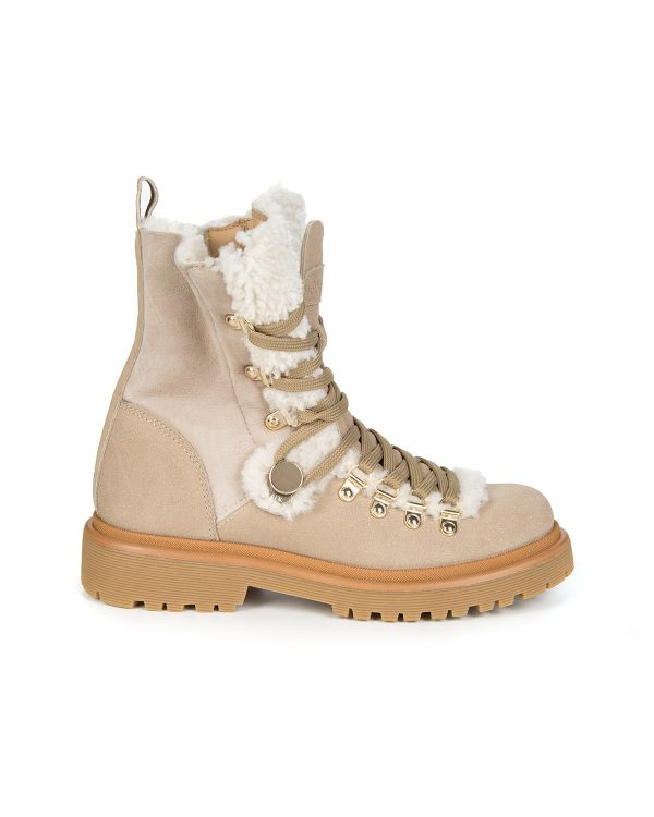 Moncler Women's Berenice Shearling Boots Beige