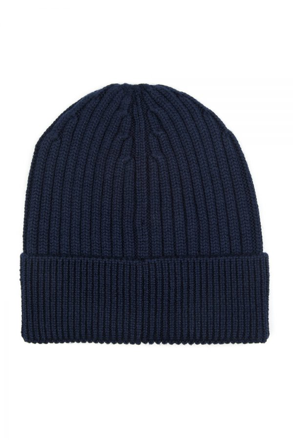 Moncler Grenoble Men's Ribbed Beanie Hat Navy