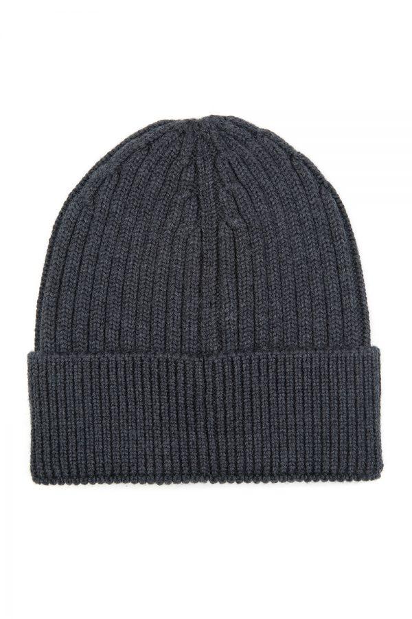 Moncler Grenoble Men's Ribbed Beanie Hat Grey