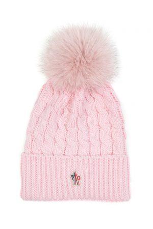 Moncler Grenoble Women's Pom-Pom Beanie Hat Pink