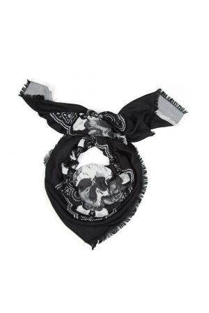 John Varvatos Men's Skull Paisley Scarf Black