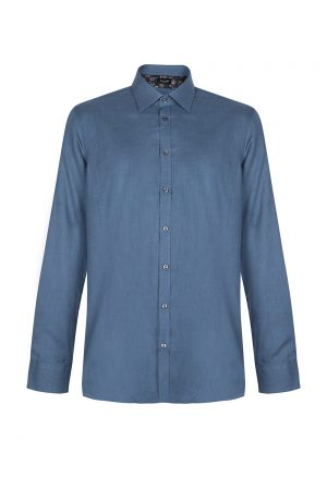 Sand Men's Herringbone Cotton Shirt Blue