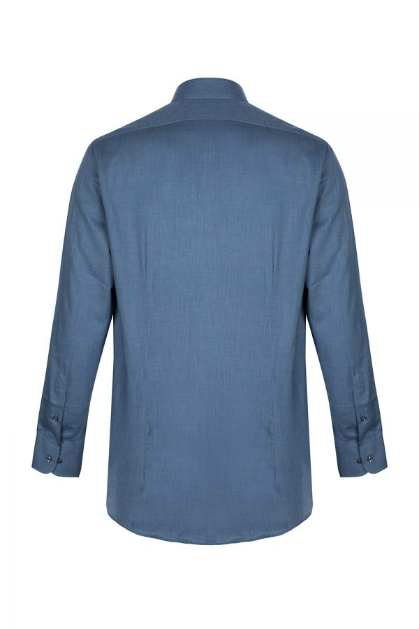 Sand Men's Herringbone Cotton Shirt Blue