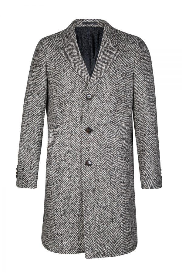 Sand Men's Herringbone Tweed Long Coat Black