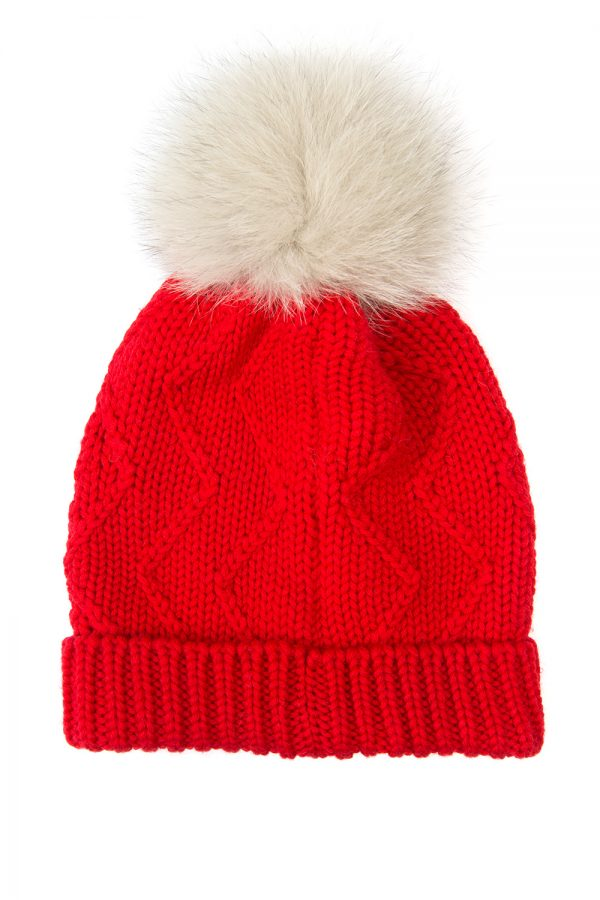 Woolrich Serenity Ladies Ribbed Bobble Hat Red