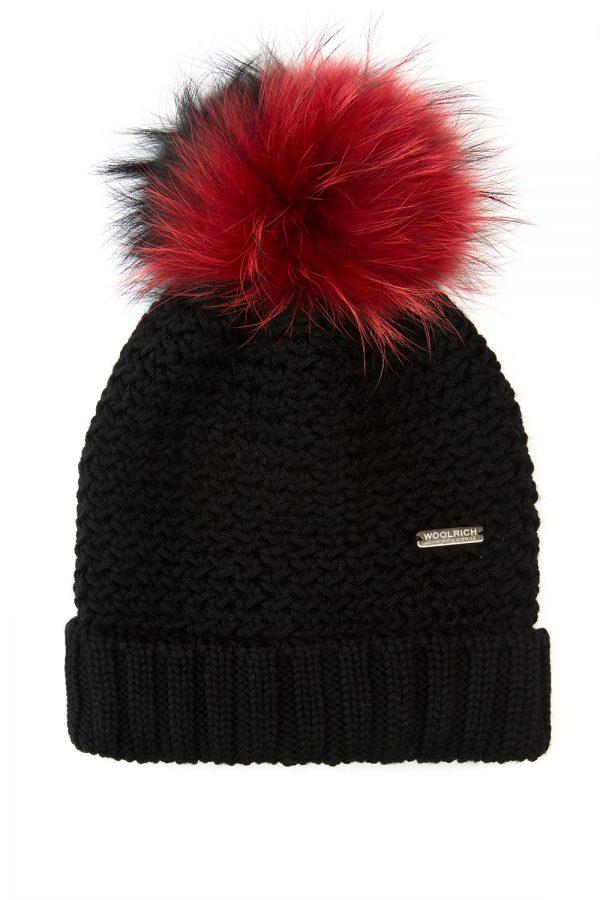 Woolrich Bicol Ladies Pom-pom Beanie Hat Black