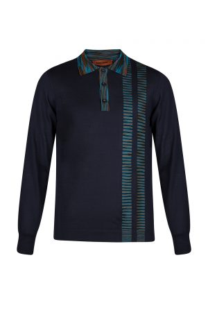 Missoni Men's Stripe Panel Polo Shirt Black