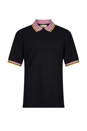 Marni Men's Contrast Collar Polo Shirt Navy
