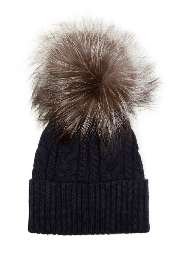 Moncler Women's Cable Knit Beanie Hat Navy