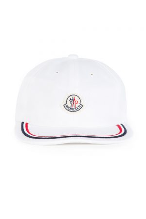 Moncler Men's Striped Trim Cap White