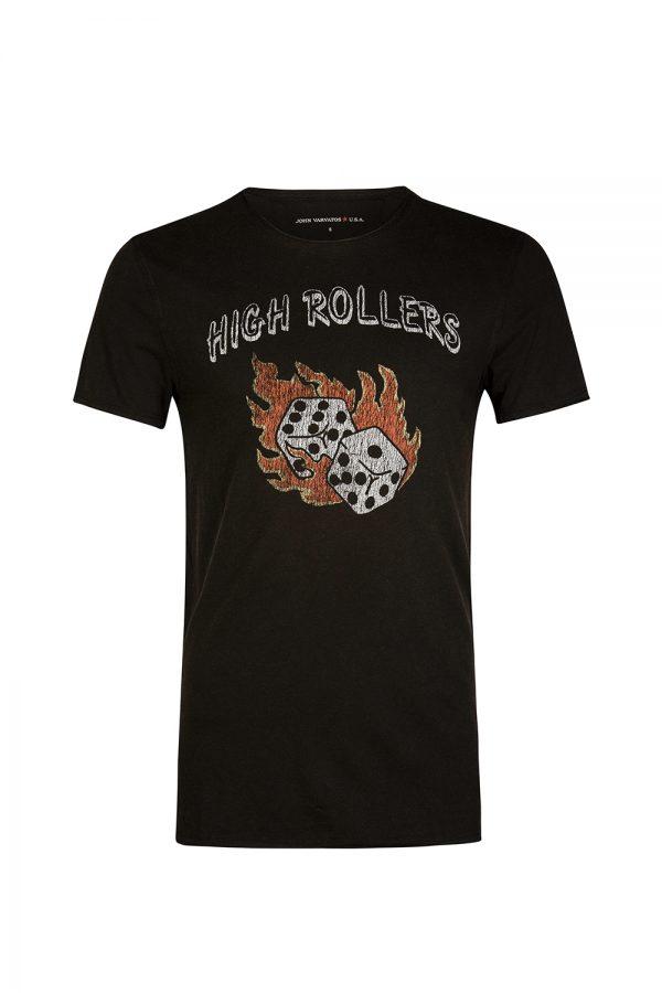 John Varvatos Men's High Rollers T-shirt Black