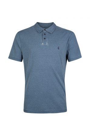 John Varvatos Men's Anton Burnout Piece Polo Shirt Blue