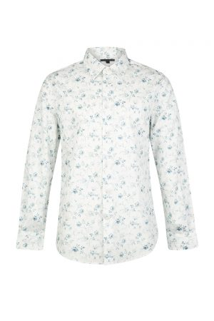 John Varvatos Men's Floral Cotton Shirt White